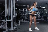 picture of hamstring  - beautiful sporty sexy woman doing squat workout in gym - JPG
