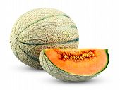 image of cantaloupe  - Ripe Melon Cantaloupe slice isolated on white background - JPG