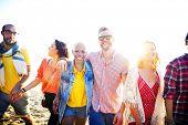 pic of bonding  - Friendship Bonding Relaxation Summer Beach Happiness Concept - JPG