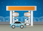 stock photo of petrol  - Illustration of petrol station and car blue background - JPG