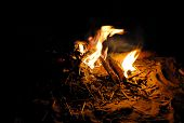 picture of bonfire  - Yellow and orange flames bonfire at night - JPG