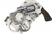 image of handcuffs  - Gun with handcuff and fingerprint ID for criminal arrest - JPG