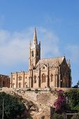 picture of gozo  - Mgarr harbor with view on church to Our Lady of Lourdes on top of the hill - JPG