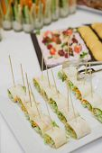 picture of banquet  - Holiday Appetizers banquet table setting in restaurant - JPG