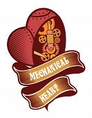 foto of mechanical drawing  - mechanical heart belted ribbons and decorated with metal parts in the style of steam punk badge on a white background - JPG