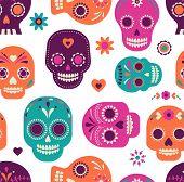 stock photo of day dead skull  - colorful skull cute pattern - JPG