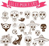 image of day dead skull  - hand drawn doodles - JPG