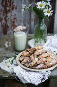 stock photo of bagel  - Homemade bagels with nuts  on wooden table - JPG