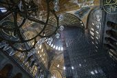 stock photo of constantinople  - Looking up at Hagia Sophia Ceiling Under Reconstruction - JPG