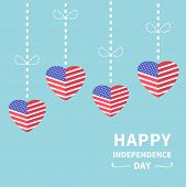 image of stripping  - Hanging heart flags Star and strip Happy independence day United states of America - JPG