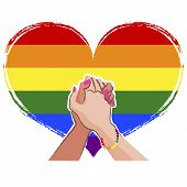 image of gay flag  - LGBT concept with Rainbow gay pride flag in the background - JPG