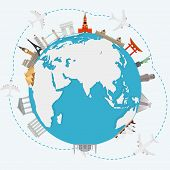 picture of world-famous  - The concept of traveling around the world - JPG