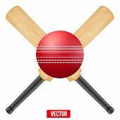 picture of cricket ball  - Vector illustration of cricket leather ball and wooden bats - JPG