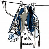 pic of boot  - Illustration with wet sport boots hang symbol of web design - JPG
