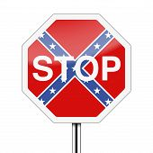stock photo of flag confederate  - Ban on the Confederate flag inside stop sign - JPG