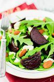 picture of rocket salad  - Roast Beetroot Almond Feta and Rocket Salad close up - JPG