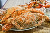 foto of carapace  - fresh steamed crab ready to serve delicious Thai seafood - JPG
