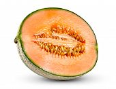 stock photo of muskmelon  - Ripe Melon Cantaloupe Fresh Juicy slice isolated on white background - JPG