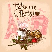 picture of eat me  - Take me to paris hand drawn concept with coffee cup croissant Eiffel tower and triumphal arch concept vector illustration - JPG