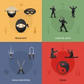 pic of ninja  - Ninja design concept set with suit weapon and martial arts flat icons isolated vector illustration - JPG