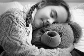 stock photo of cute bears  - Closeup black and white portrait of cute dreaming girl hugging teddy bear - JPG