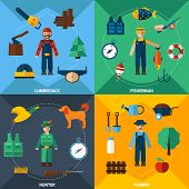 picture of hunter  - Fisherman lumberjack hunter and farmer with tools flat icons set isolated vector illustration - JPG
