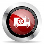 pic of ambulance  - ambulance red glossy web icon original modern design for web and mobile app on white background  - JPG