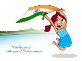 pic of indian independence day  - Illustration of cute girl holding Indian national flag and celebrating 68th years of Independency for Independence Day celebration - JPG