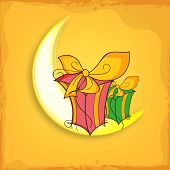foto of crescent-shaped  - Colorful gifts on shiny crescent moon for Muslim community festival - JPG