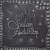 picture of eid festival celebration  - Elegant greeting card design with stylish text Salam Aidilfitri and mosque drawn by white chalk on blackboard background for Muslim community festival - JPG