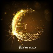 picture of crescent  - Creative golden crescent moon on shiny brown background for Islamic famous festival - JPG