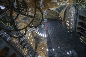 stock photo of reconstruction  - Looking up at Hagia Sophia Ceiling Under Reconstruction - JPG