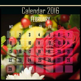 foto of february  - Floral 2016 calendar design for february month - JPG