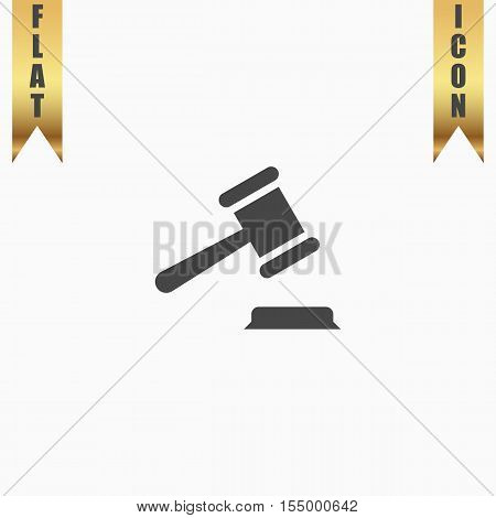 Judge gavel. Flat Icon. Vector illustration grey symbol on white background with gold ribbon