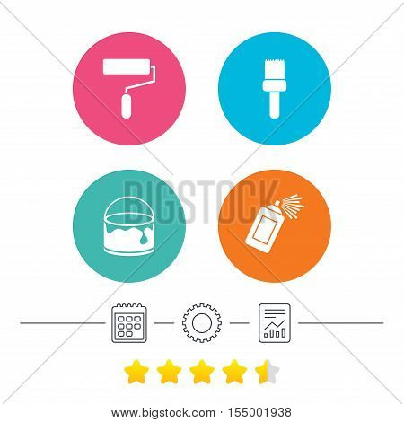 Painting roller, brush icons. Spray can and Bucket of paint signs. Wall repair tool and painting symbol. Calendar, cogwheel and report linear icons. Star vote ranking. Vector