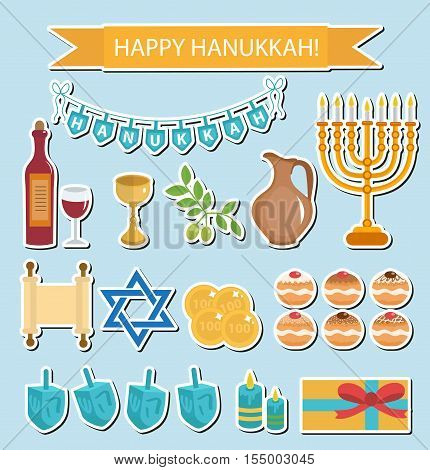 Hanukkah sticker pack. Hanukkah Icons with Menorah Torah Sufganiyot Olives and Dreidel. Happy Hanukkah Festival of Lights Feast of Dedication flat icons stickers. Vector illustration