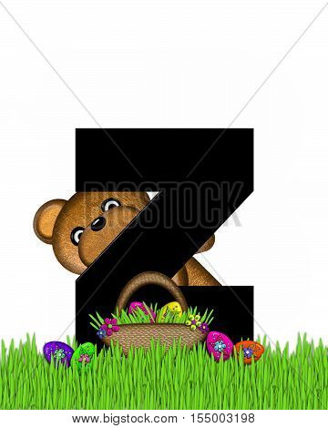 Alphabet Teddy Hunting Easter Eggs Z