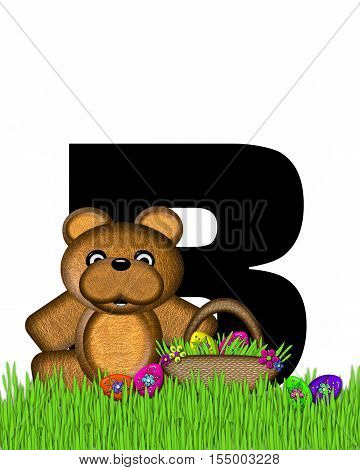 Alphabet Teddy Hunting Easter Eggs B