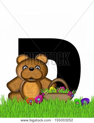 Alphabet Teddy Hunting Easter Eggs D