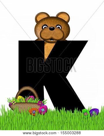 Alphabet Teddy Hunting Easter Eggs K
