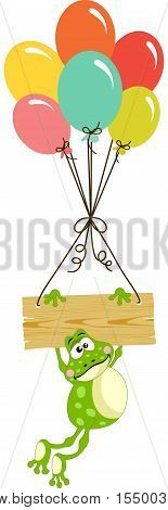 Scalable vectorial image representing a frog with wooden sign and balloons, isolated on white.