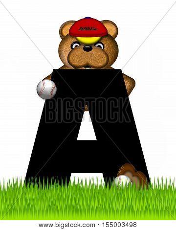 Alphabet Teddy Baseball A