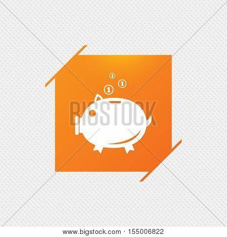 Piggy bank sign icon. Moneybox symbol. Orange square label on pattern. Vector