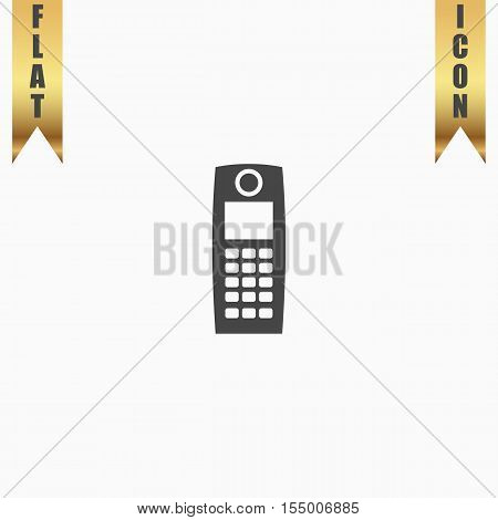 Retro mobile phone. Flat Icon. Vector illustration grey symbol on white background with gold ribbon