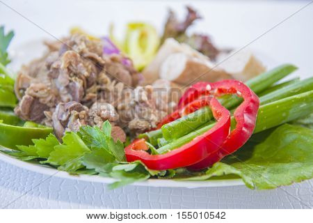 Cooked Lamb Giblets With Vegetables.