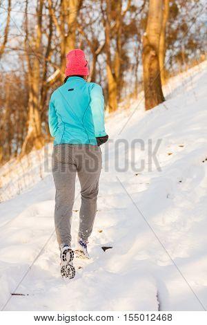 Girl Exercising In Winter