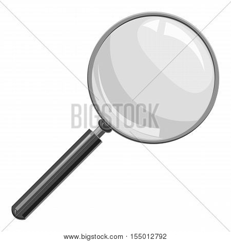 Magnifier icon. Gray monochrome illustration of magnifier vector icon for web