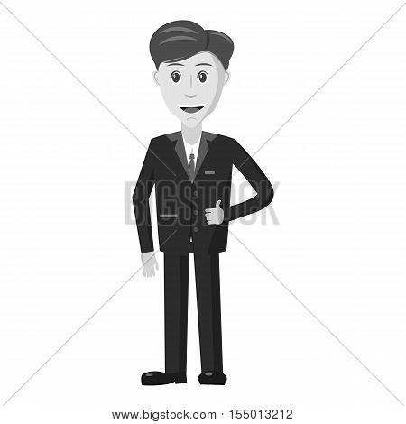 Joyful businessman icon. Gray monochrome illustration of joyful businessman vector icon for web