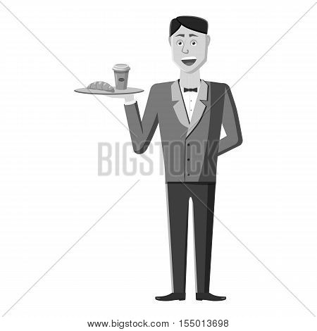 Waiter icon. Gray monochrome illustration of waiter vector icon for web