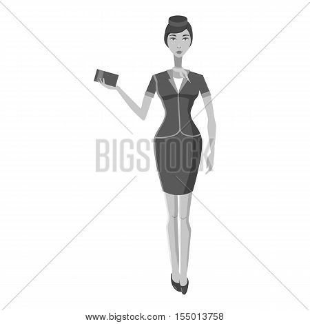 Stewardess icon. Gray monochrome illustration of stewardess vector icon for web